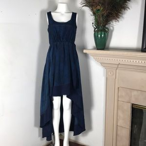 Ina Silk High Low Dress Polka Dot Blue Sleeveless